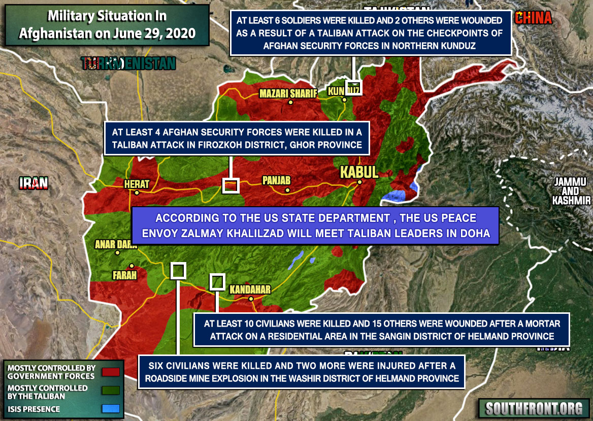 Military Situation In Afghanistan On June 29, 2020 (Map Update)