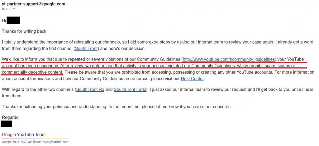 SouthFront Censorship On YouTube - Support Team Strikes Back