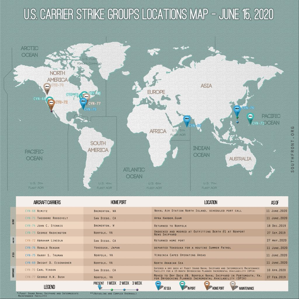 Locations Of US Carrier Strike Groups – June 15, 2020