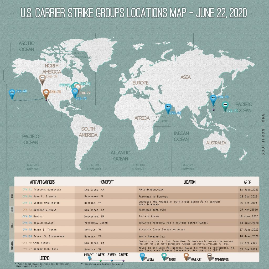 Locations Of US Carrier Strike Groups – June 22, 2020