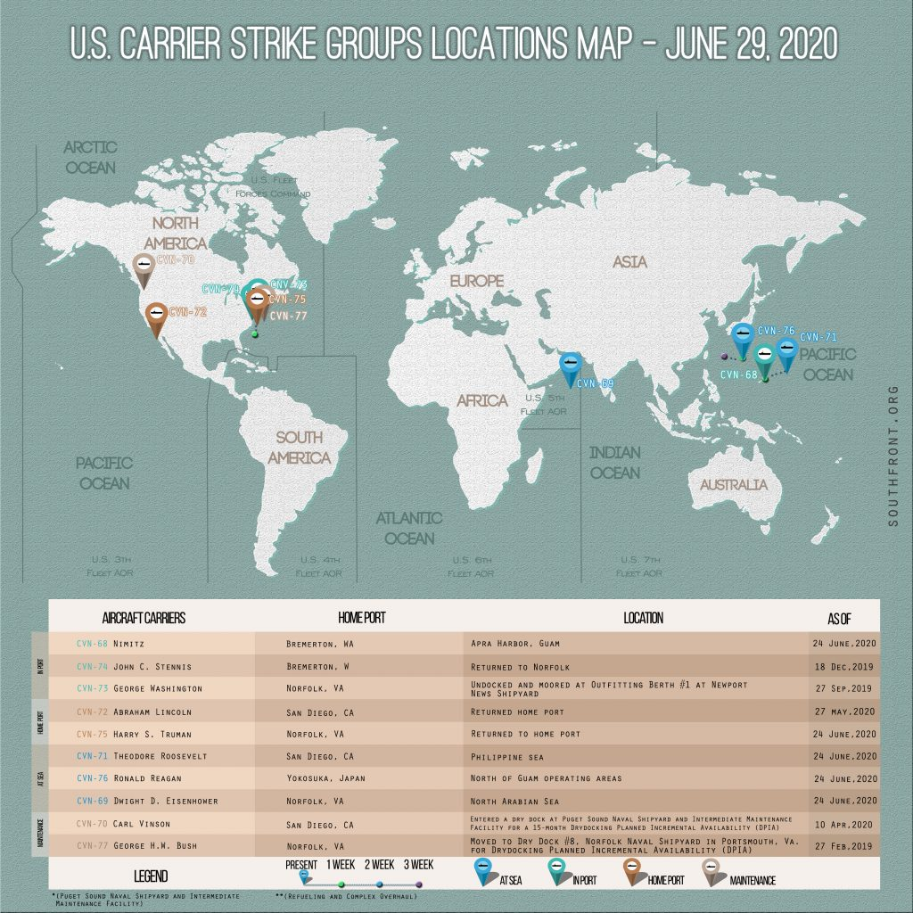 Locations Of US Carrier Strike Groups – June 29, 2020