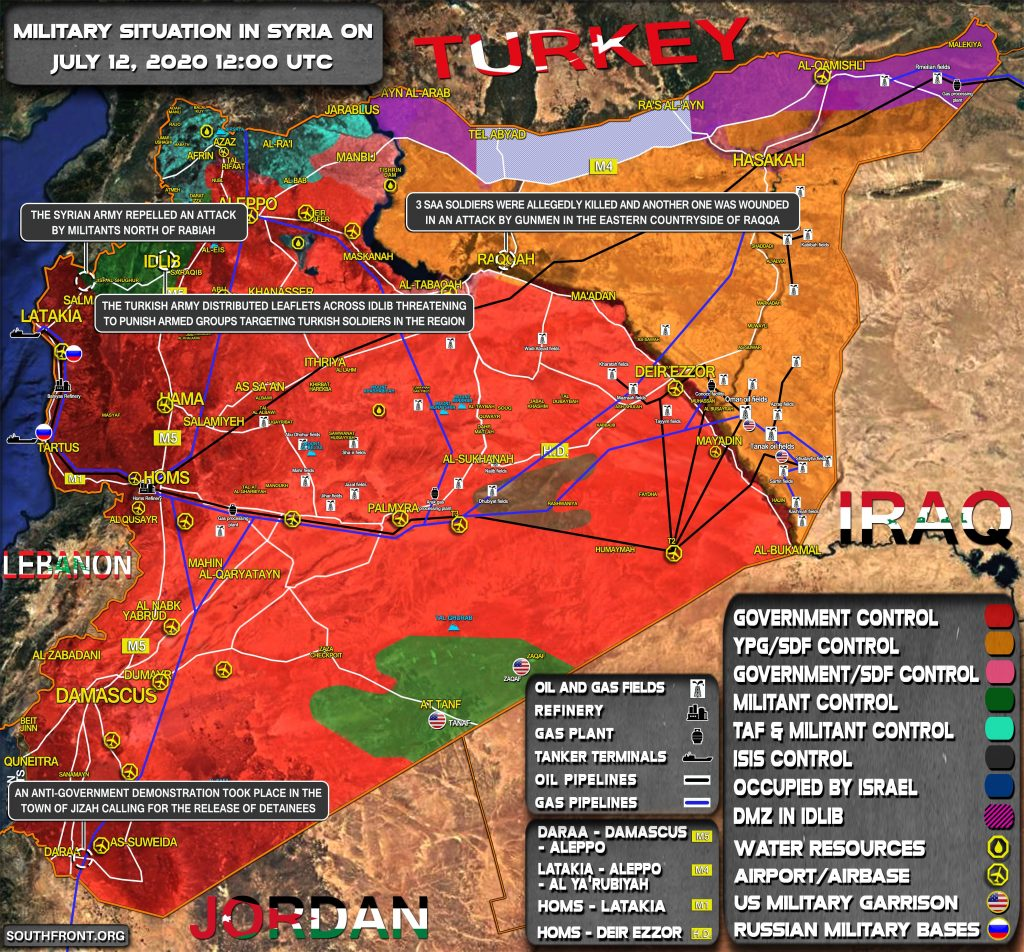 Military Situation In Syria On July 12, 2020 (Map Update)
