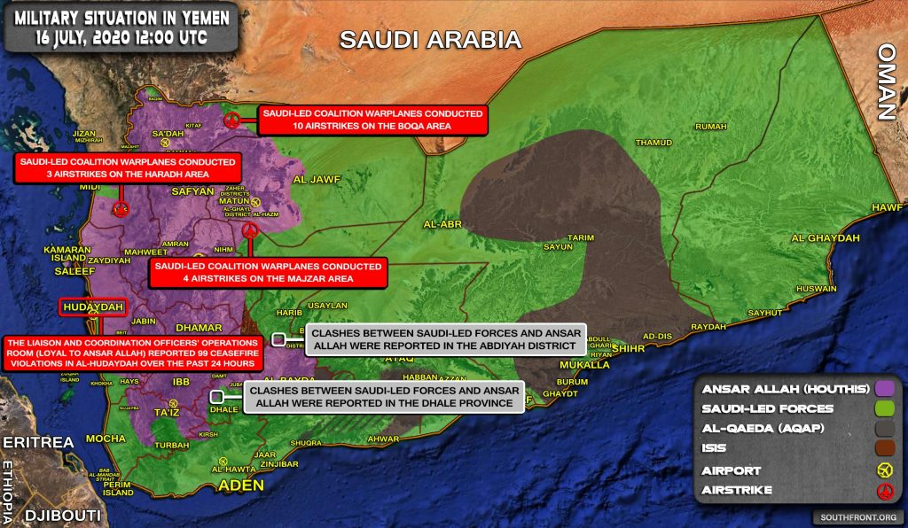 Military Situation In Yemen On July 16, 2020 (Map Update)