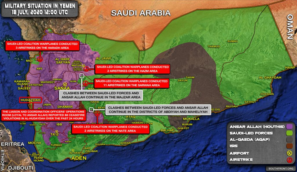 Military Situation In Yemen On July 18, 2020 (Map Update)