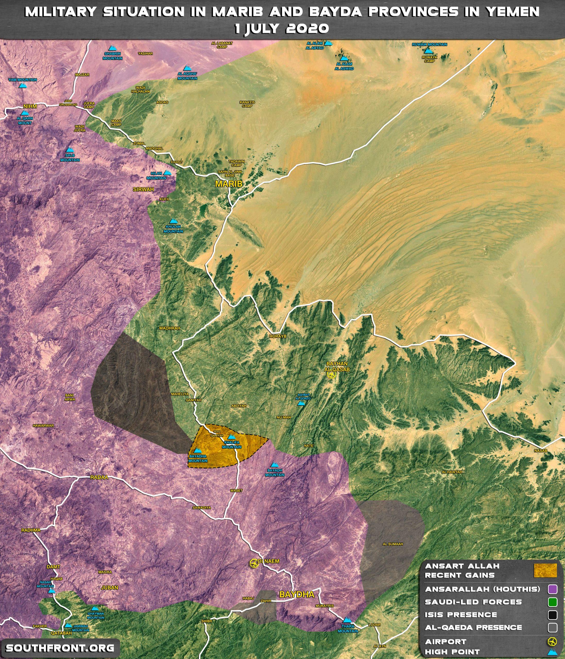 Map Update: Ansar Allah gains In Yemeni Provinces Of Marib And Bayda