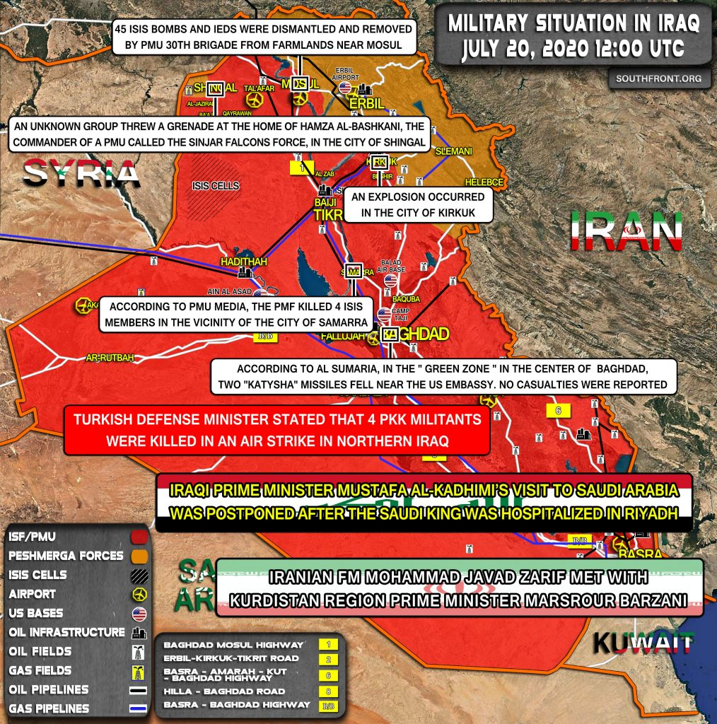 Military Situation In Iraq On July 20, 2020 (Map Update)