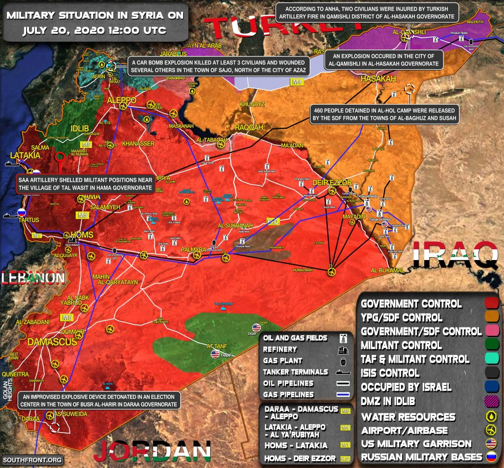Military Situation In Syria On July 20, 2020 (Map Update)