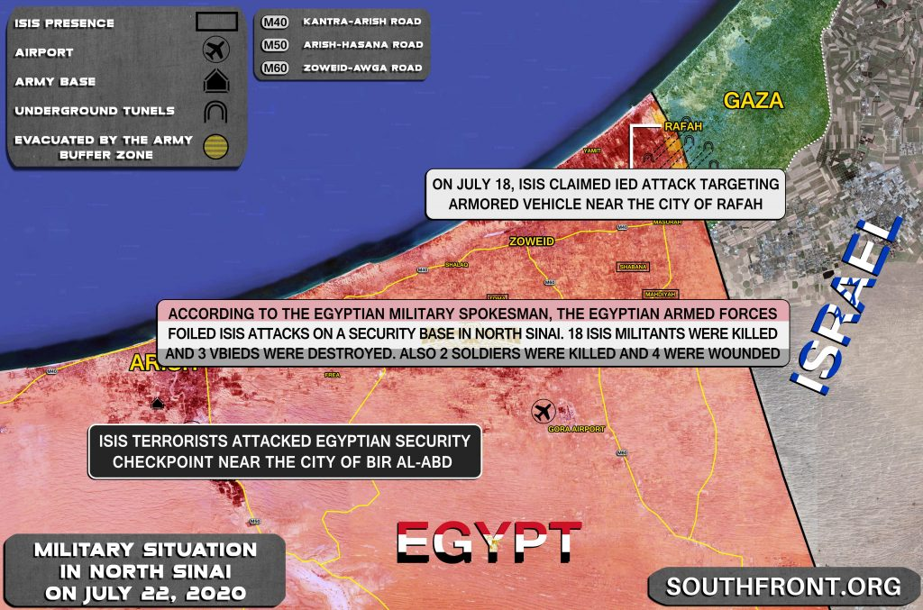 Military Situation In Egypt's North Sinai On July 22, 2020 (Map Update)
