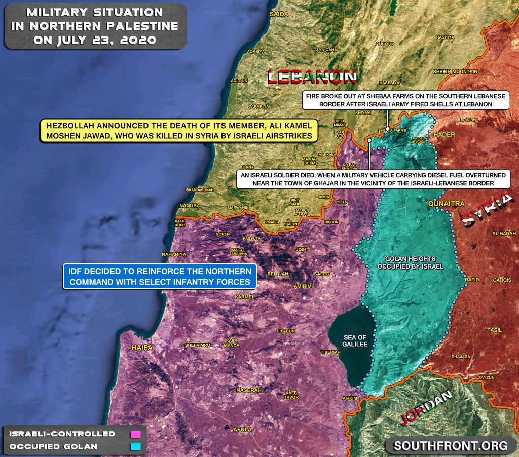 Military Situation On Israeli-Lebanese Contact Line On July 23, 2020 (Map Update)