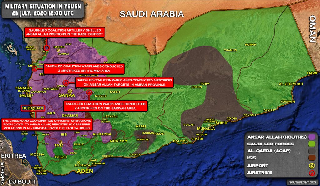 Military Situation In Yemen On July 25, 2020 (Map Update)