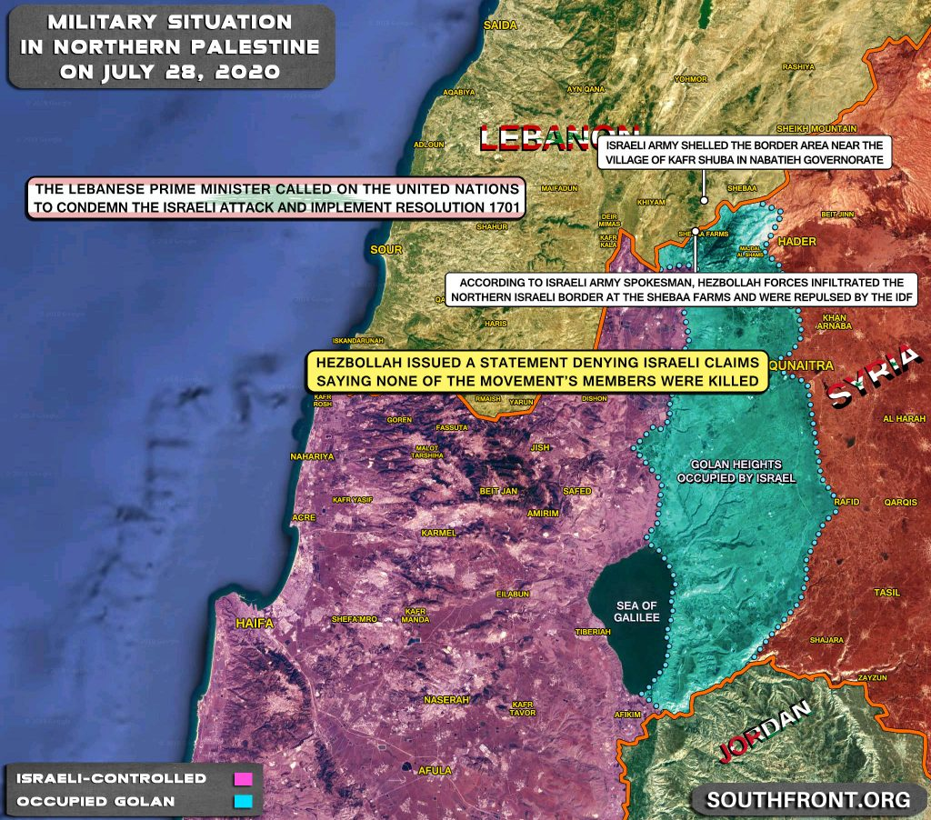 Military Situation On Israeli-Lebanese Contact Line On July 28, 2020 (Map Update)