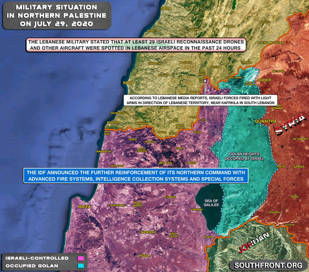 Military Situation On Israeli-Lebanese Contact Line On July 29, 2020 (Map Update)