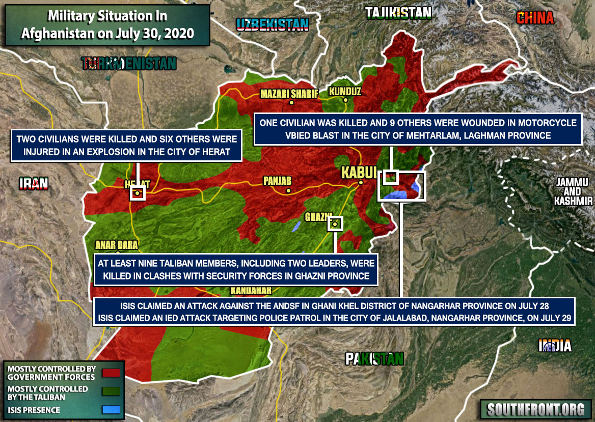 Military Situation In Afghanistan On July 30, 2020 (Map Update)