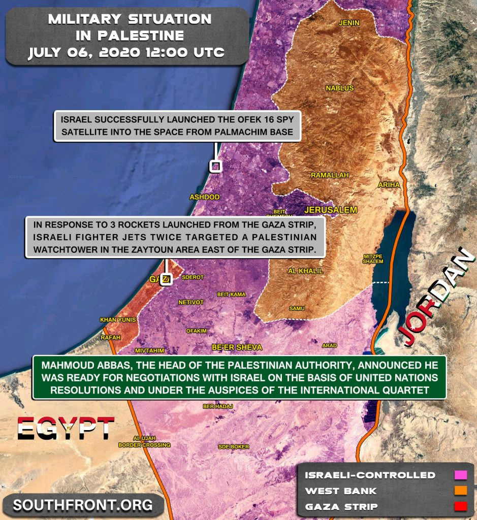 Military Situation In Palestine On July 6, 2020 (Map Update)