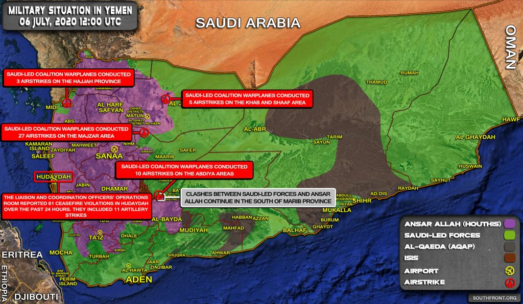 Military Situation In Yemen On July 6, 2020 (Map Update)