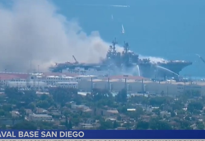 USS Bonhomme Richard Amphibious Assault Ship On Fire At Naval Base San Diego (Videos)
