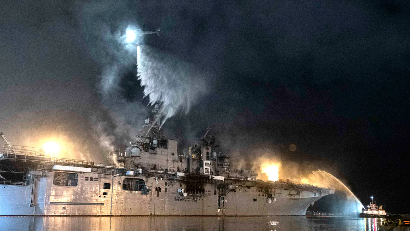 USS Bonhomme Richard Almost Entirely Destroyed By Fire
