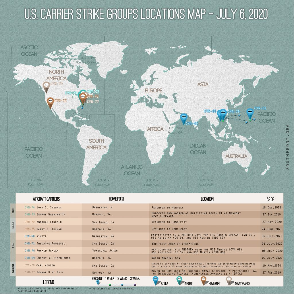 Locations Of US Carrier Strike Groups – July 6, 2020