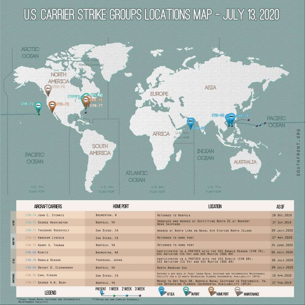 Locations Of US Carrier Strike Groups – July 13, 2020