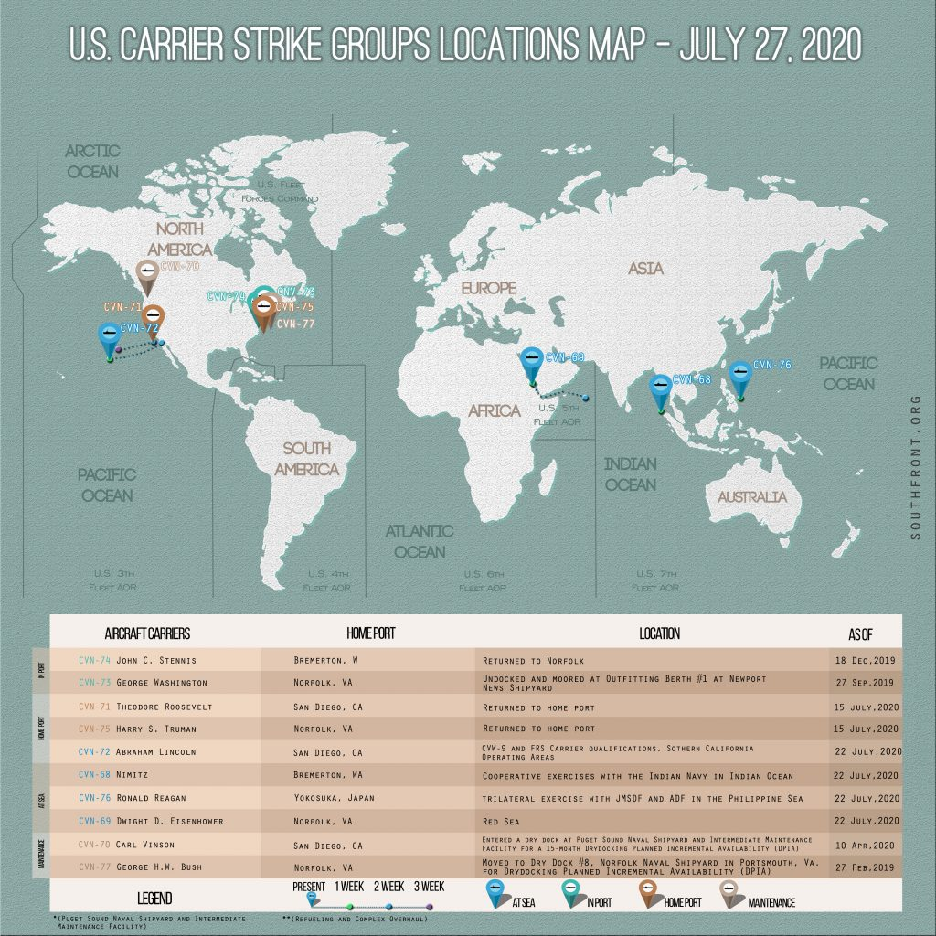 Locations Of US Carrier Strike Groups – July 27, 2020