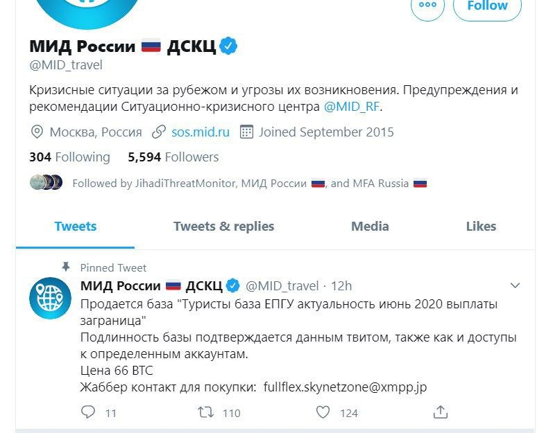 Russian Foreign Ministry's Crisis Management Center Twitter Account Hacked