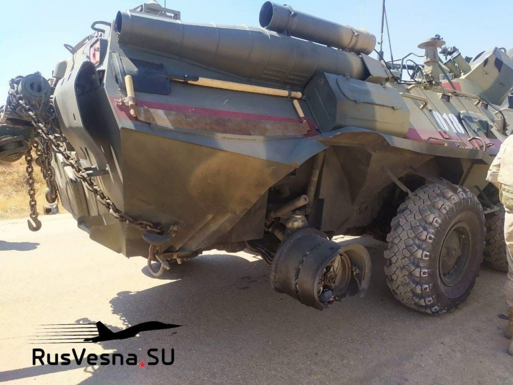 In Photos: Russian BTR-80 Vehicle Damaged In Attack On Turkish-Russian Patrol In Idlib