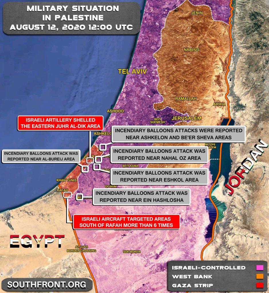 Military Situation In Palestine On August 12, 2020 (Map Update)