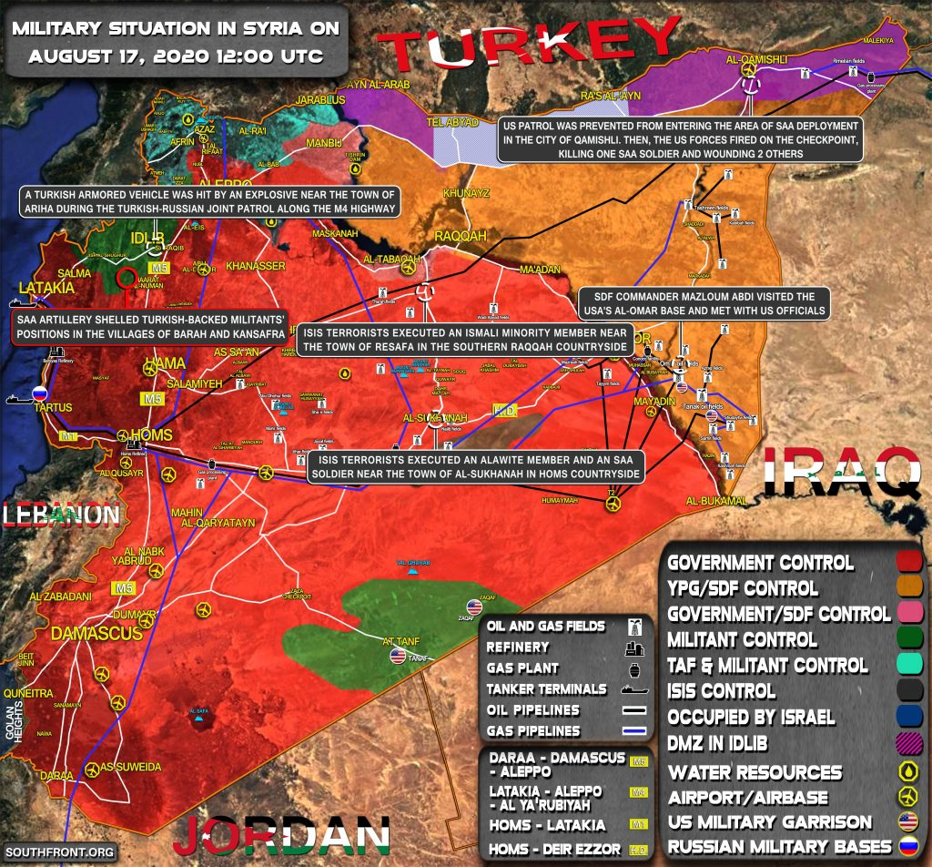 Military Situation In Syria On August 17, 2020 (Map Update)