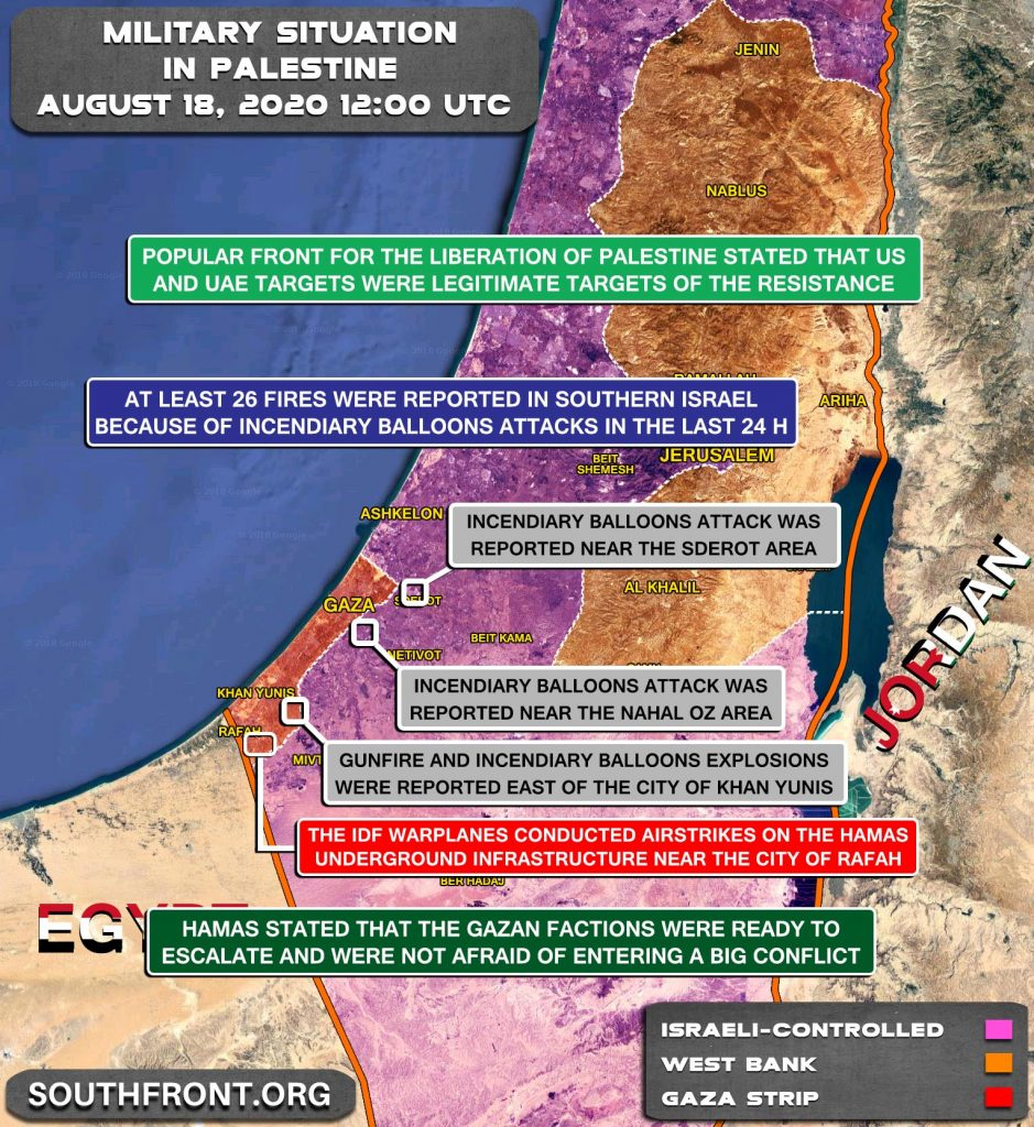 Military Situation In Palestine On August 18, 2020 (Map Update)