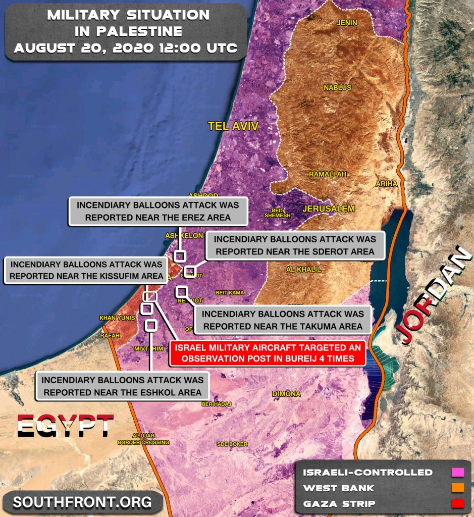 Military Situation In Palestine On August 20, 2020 (Map Update)
