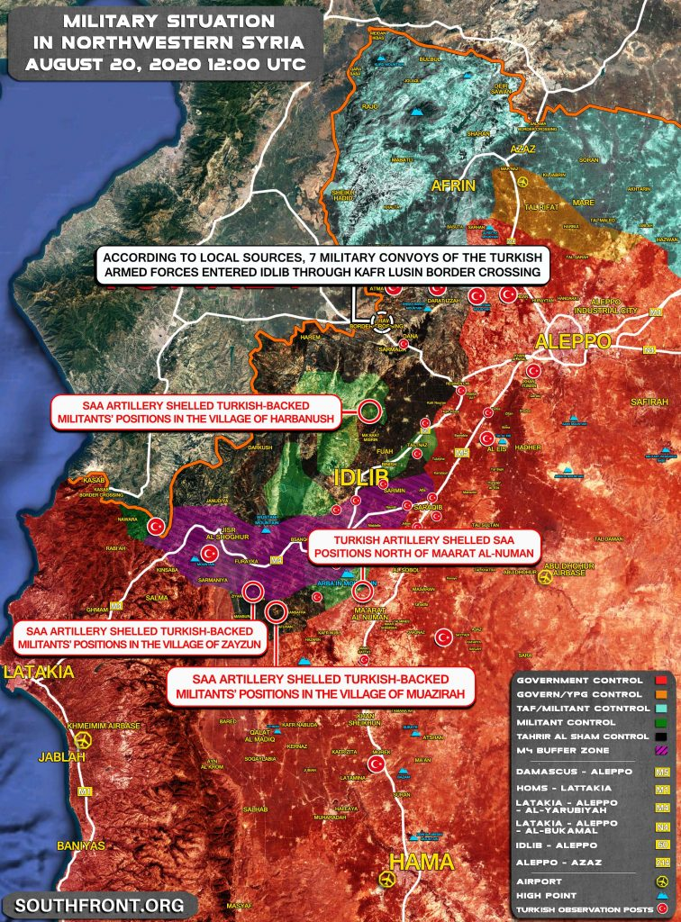 Military Situation In Northwestern Syria On August 20, 2020 (Map Update)