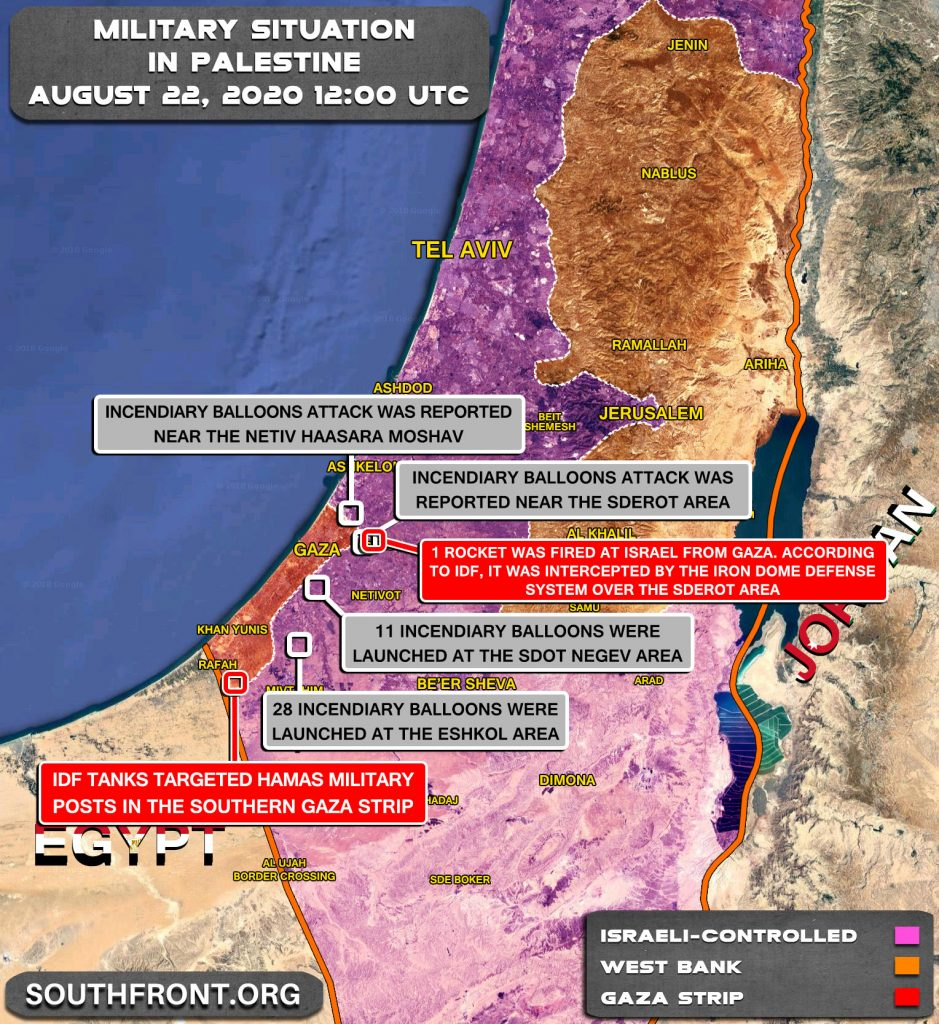Military Situation In Palestine On August 22, 2020 (Map Update)