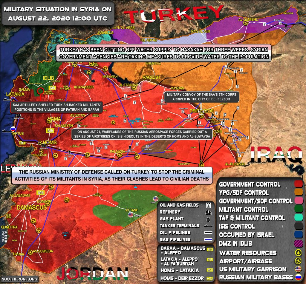 Military Situation In Syria On August 22, 2020 (Map Update)
