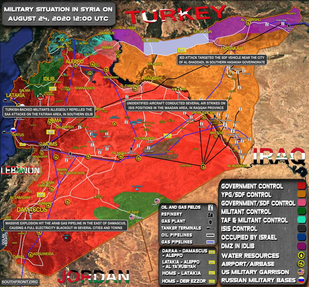Military Situation In Syria On August 24, 2020 (Map Update)