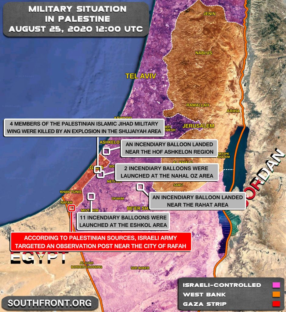 Military Situation In Palestine On August 25, 2020 (Map Update)