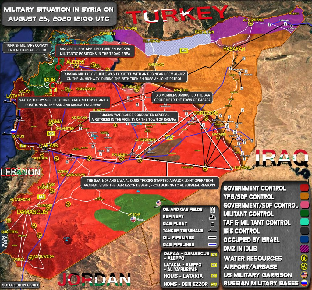 Military Situation In Syria On August 25, 2020 (Map Update)