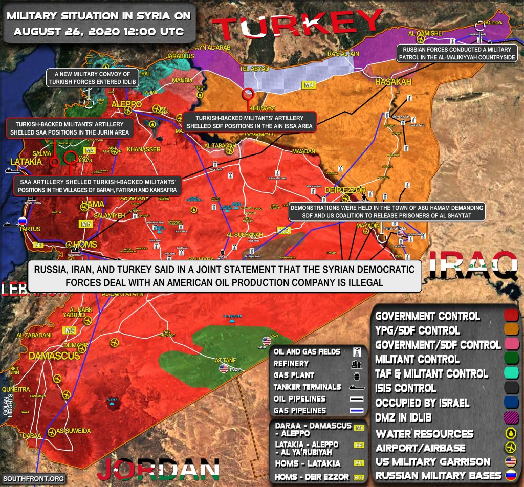 Military Situation In Syria On August 26, 2020 (Map Update)