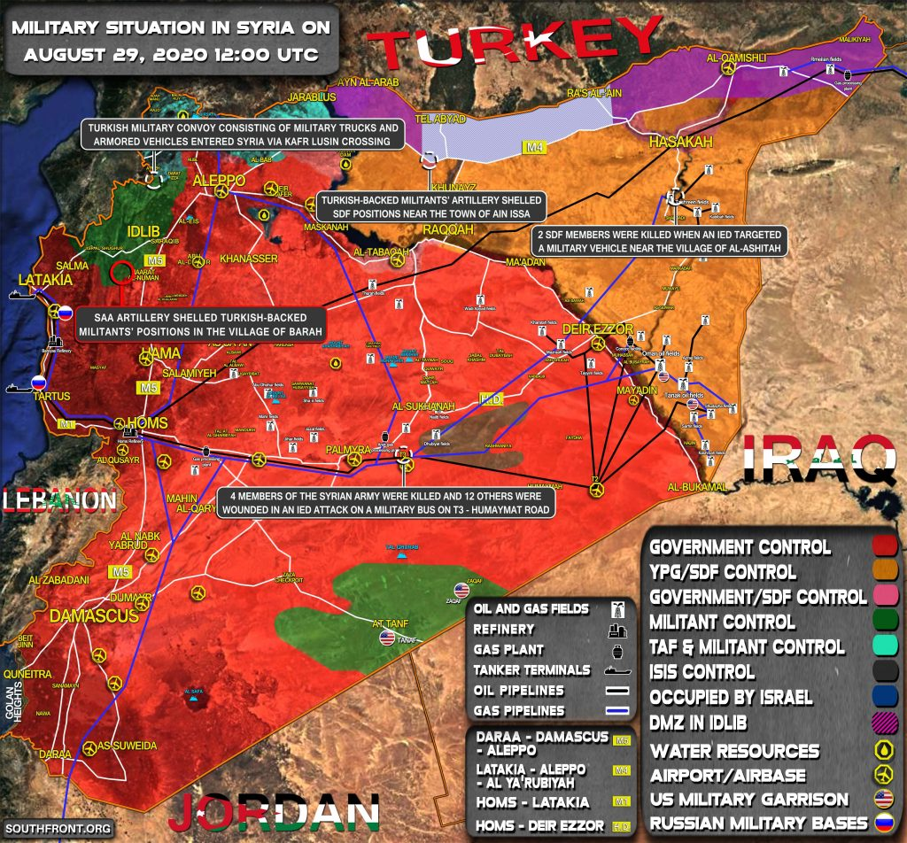 Military Situation In Syria On August 29, 2020 (Map Update)