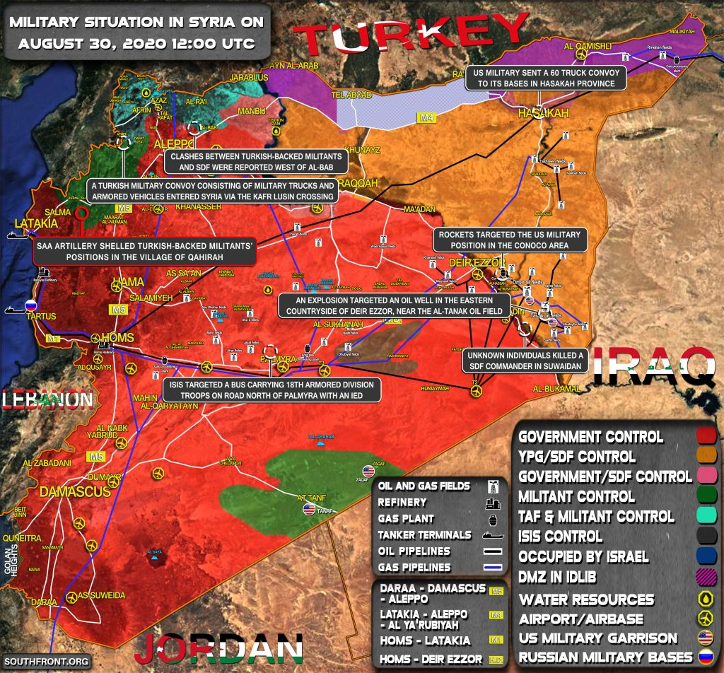 Military Situation In Syria On August 30, 2020 (Map Update)