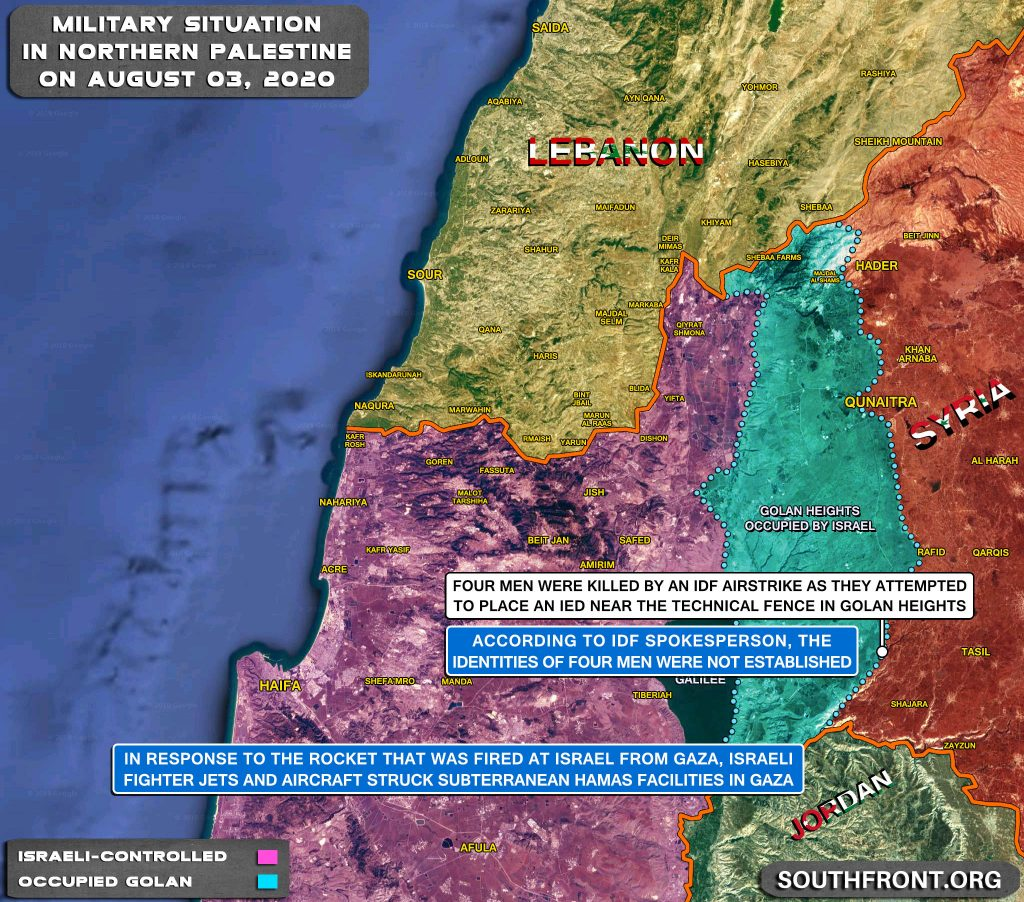 Military Situation On Israeli-Lebanese Contact Line And In Golan Heights Area On August 3, 2020 (Map Update)