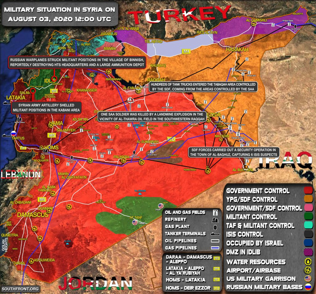 Military Situation In Syria On August 3, 2020 (Map Update)