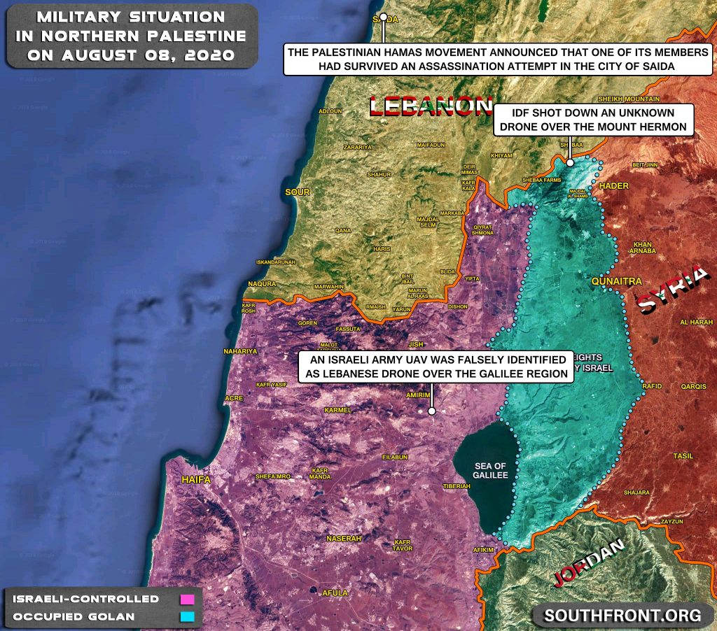 Military Situation On Israeli-Lebanese Contact Line And In Golan Heights Area On August 8, 2020 (Map Update)