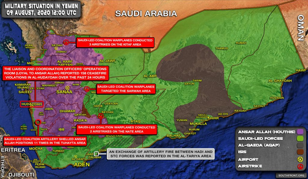 Military Situation In Yemen On August 9, 2020 (Map Update)