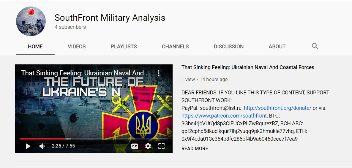Watch SouthFront Videos On YouTube (Again)