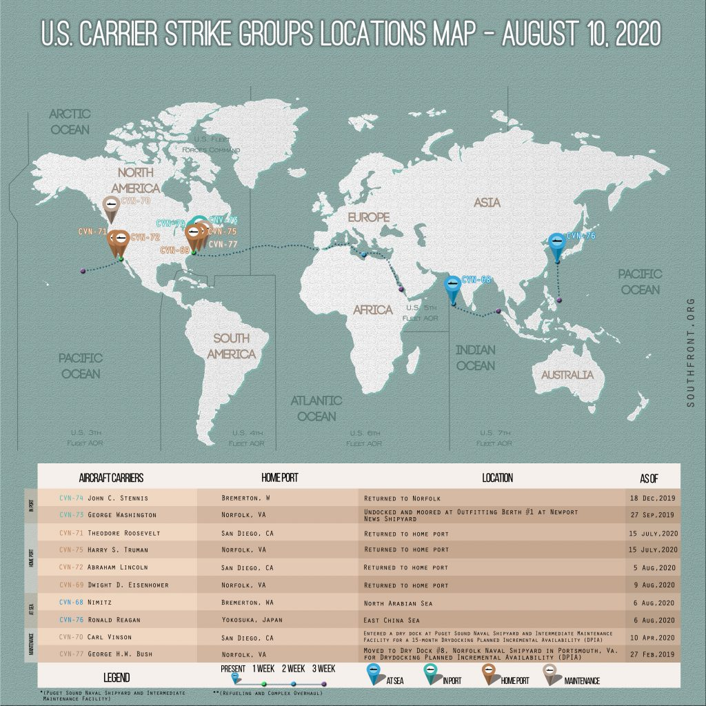 Locations Of US Carrier Strike Groups – August 10, 2020