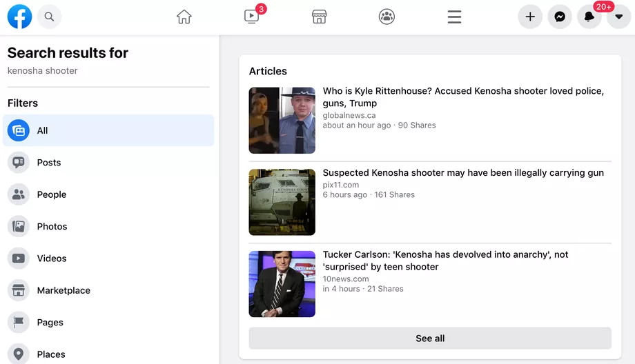 Facebook Blocks Searches For Kenosha Shooter, As Evidence Piles Up He Acted In Self-Defense