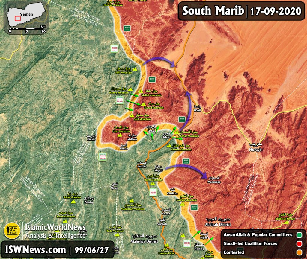 Map Update: Saudi-backed Forces Lost More Positions South Of Yemen's Marib