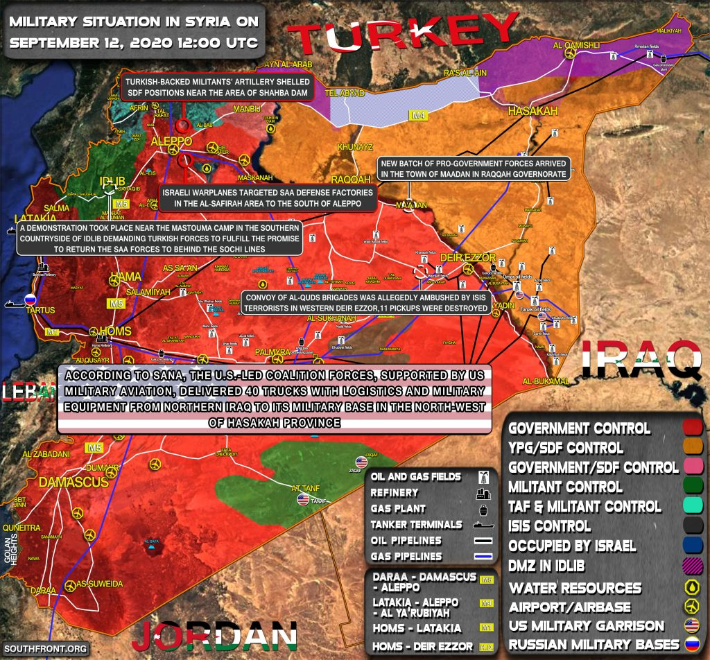 Military Situation In Syria On September 12, 2020 (Map Update)