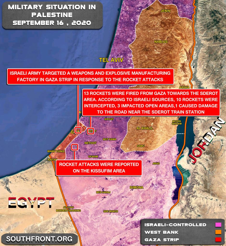 Military Situation In Palestine On September 16, 2020 (Map Update)