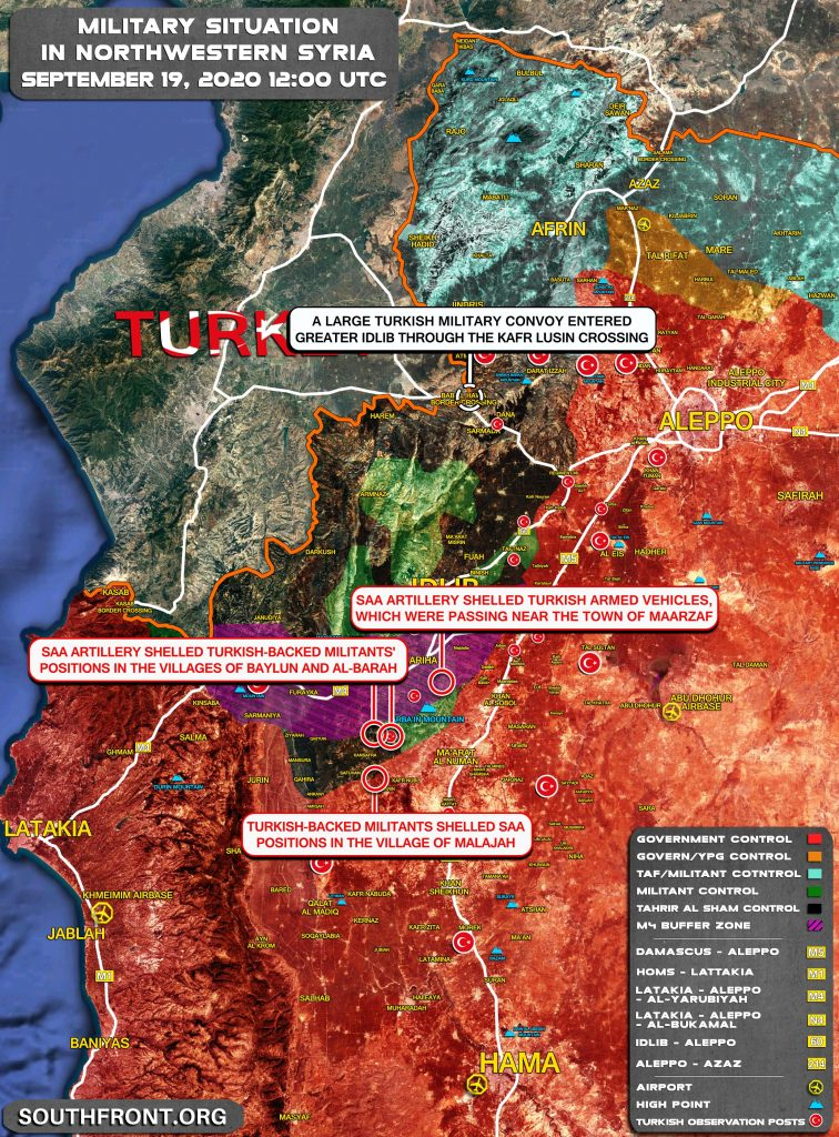Military Situation In Syria's Greater Idlib On September 19, 2020 (Map Update)